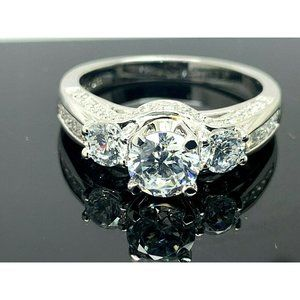 Engagement Ring Brilliance Sterling Silver Size 8